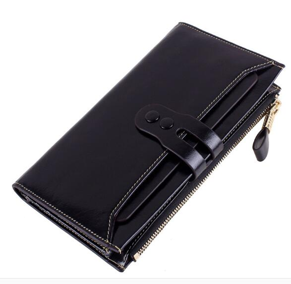 Genuine leather cow skin long purse oil wax with card holder for women