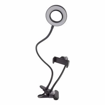 2-in-1 Cell Phone Holder with LED Selfie Ring Light for Live Stream Phone Clip Holder Adjustable Desk Lamp Makeup Light