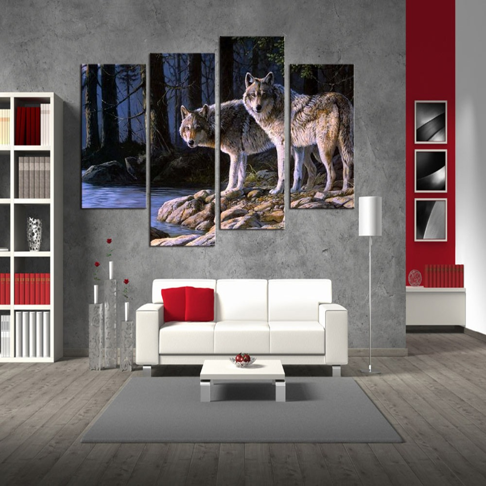 4 Pcs Set Animal Wall Art Home Decoration Modern River Wolf in Forest Canvas Print Painting in Painting Calligraphy from Home Garden