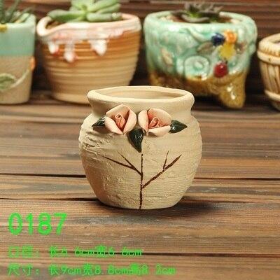Hand Made Flower Pots Succulents Flowerpot Small Pink Flowers Style