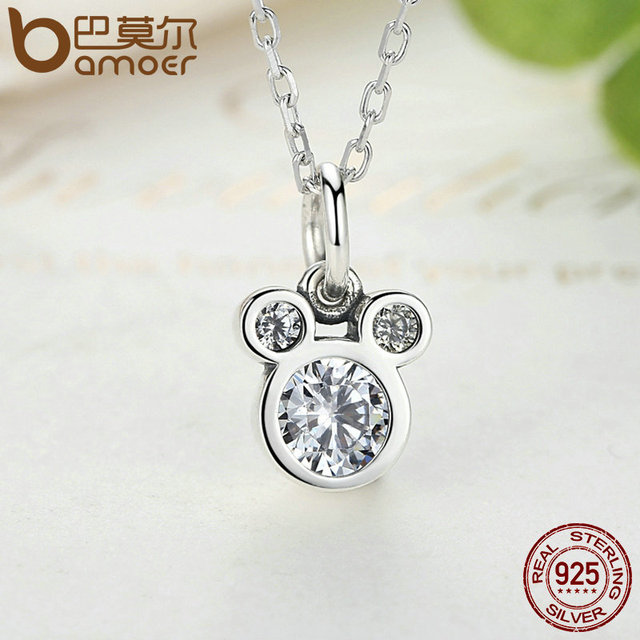 Sterling Silver Dazzling Miky Mouse Pendant Necklaces