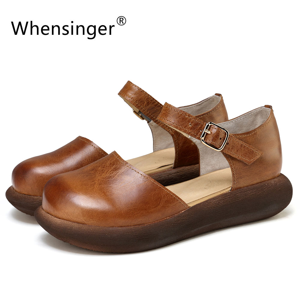 Whensinger - 2018 Summer Sandals Women Fashion Genuine Leather Shoes Retro Buckle Strap Design 591 цена 2017