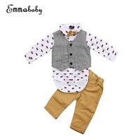 4 pcs Bebê Meninos Roupas Definir 0-24 M Da Criança Do Bebê Menino vestido Formal Terno + Calça + Colete + laço 2017 Roupa Nova Menino Smoking Conjunto Roupas Casuais