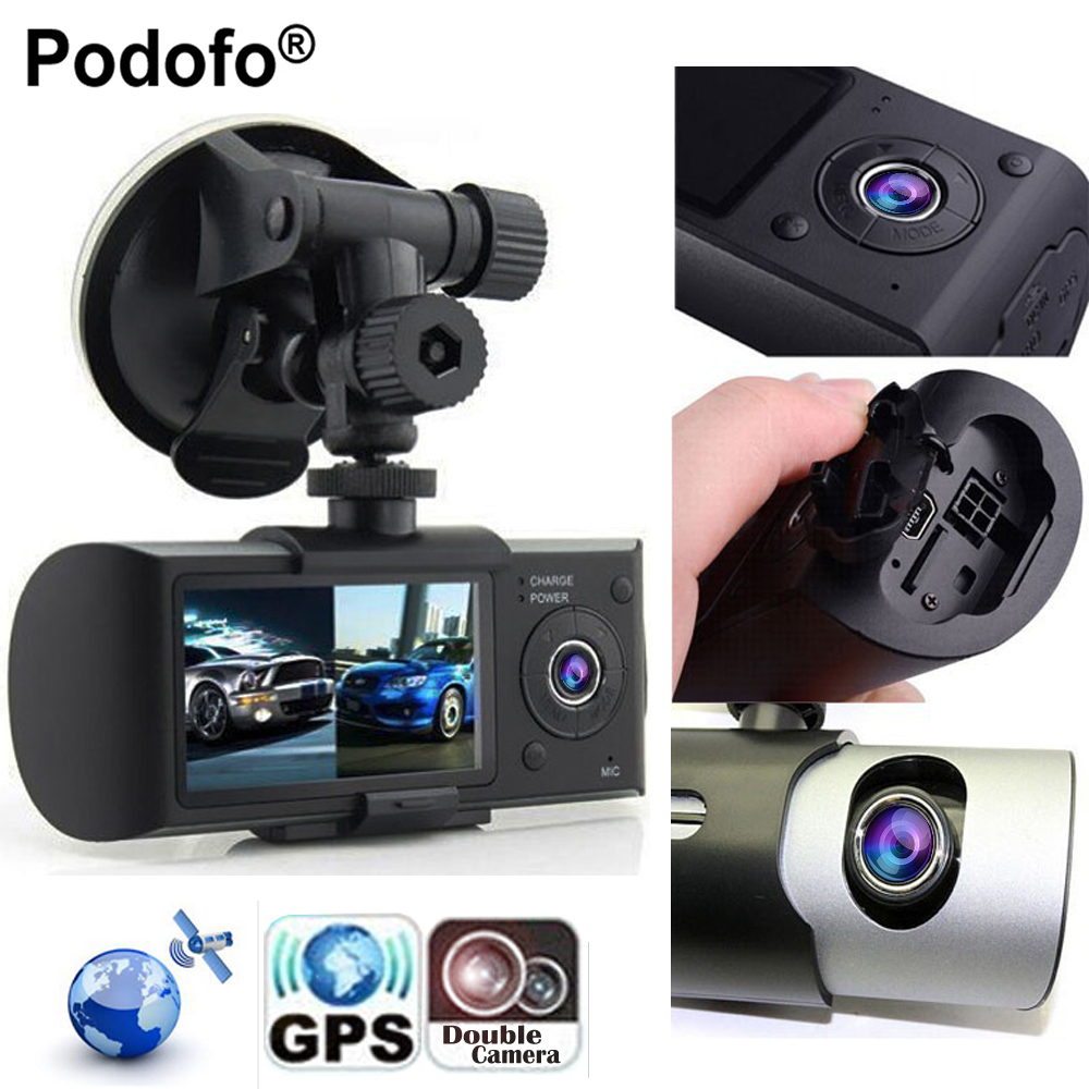 Podofo Новый Даш Камера 2.7 автомобиль Видеорегистраторы для автомобилей Камера видео Регистраторы регистраторы G-Сенсор GPS Двойной объектив К...