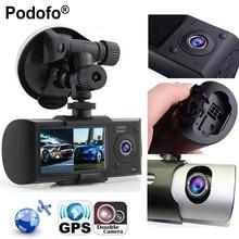 """Podofo Новый Даш Камера 2.7 """"автомобиль Видеорегистраторы для автомобилей Камера видео Регистраторы регистраторы G-Сенсор GPS Двойной объектив Камера X3000 r300 Видеорегистраторы для автомобилей s"""