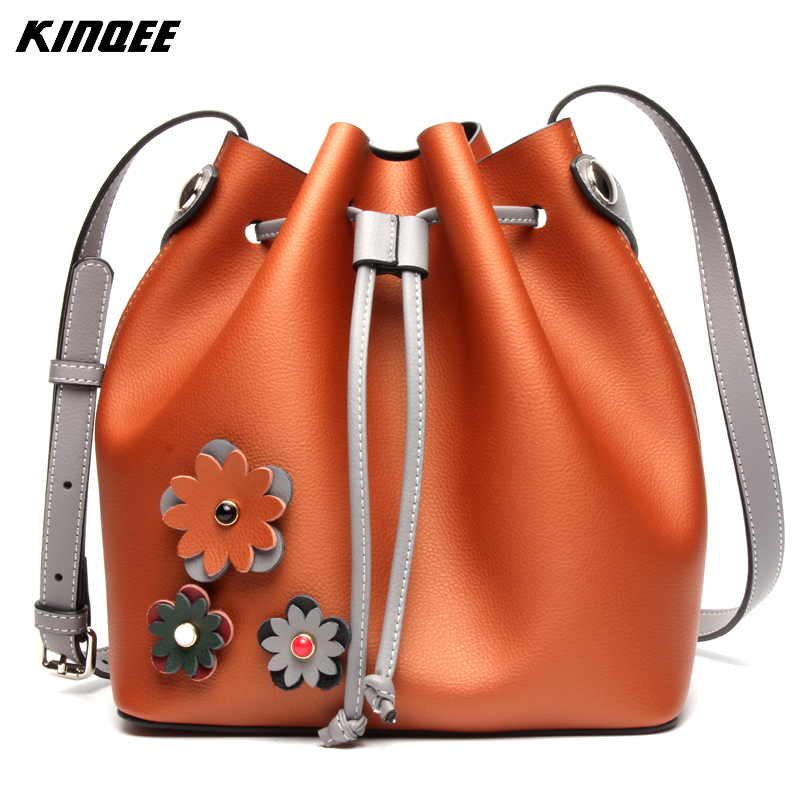 Patchwork Bucket Bag Genuine Leather Floral Shoulder Handbag Women Messenger Crossbody Vintage Soft Designer Shopping Bags new fashion women girl student fresh patent leather messenger satchel crossbody shoulder bag handbag floral cover soft specail