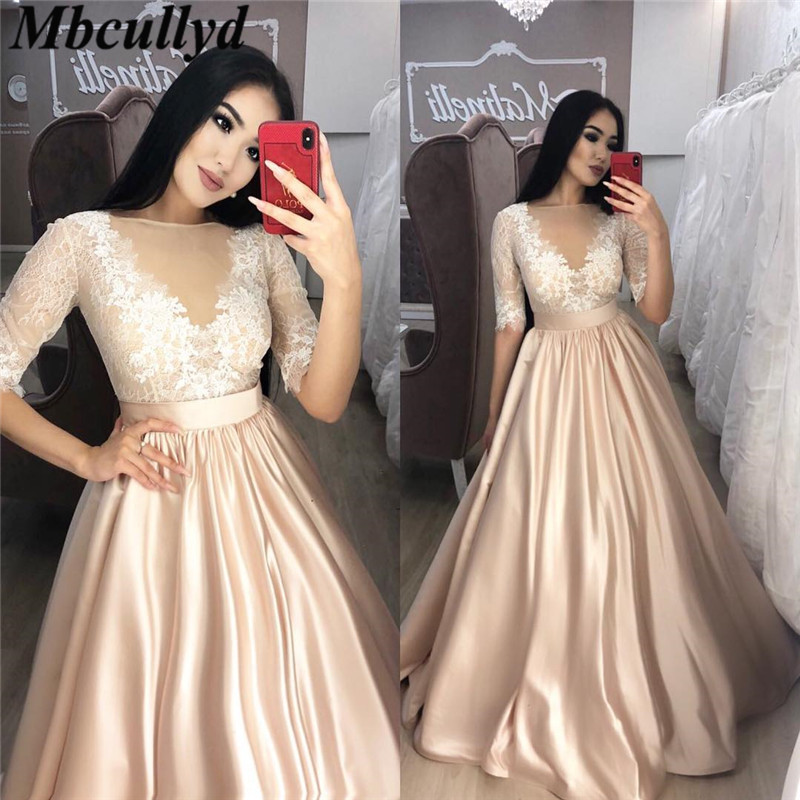 Mbcullyd Champange Long   Prom     Dresses   2019 Sexy Sheer Half Sleeves Satin Girls Party Gowns Formal Plus Size vestidos de festa