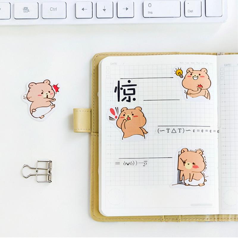 Купить с кэшбэком 45 pcs/lot Greedy Bearr Kawaii Cartoon Paper Stickers  Decoration DIY Scrapbooking Sticker Stationery cute label stickers