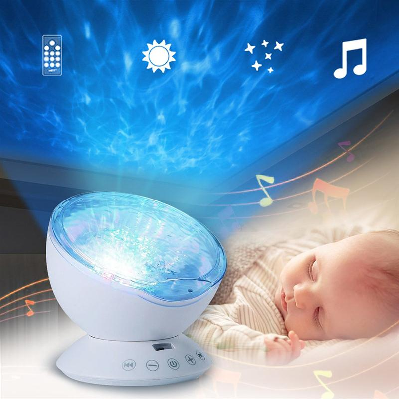 LED Projecting Light Lamp Color Changing Ocean Wave Projector with Remote Control Kids Night Light цена