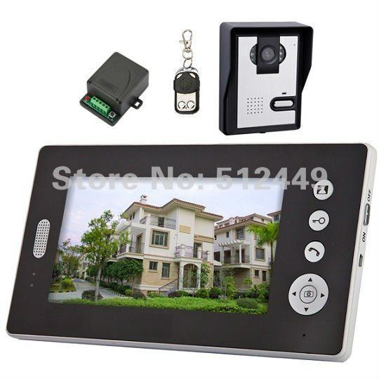 Digital Wireless Color Video Door Phone Intercom 7 inch Monitor 2.4GHz Outdoor IR Nightvision CMOS Camera 1 to 1