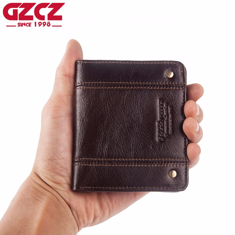 GZCZ Thin Purse Male Wallet Mini Genuine-Leather Card-Holder Cowskin RFID Designer Short
