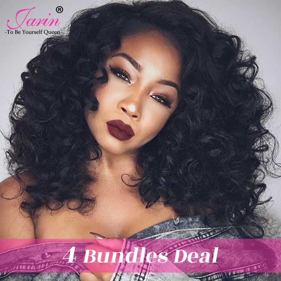 "JARIN Malaysian Loose Wave Hair 4 Bundles Natural Color 100% Human Hair Weave Length 8-28"" Can Be Dyed Straighten Remy Hair #1B"