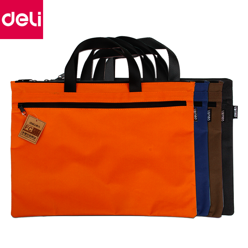Deli 1pcs A4 Size File Folder Double Layers Document Storage Bag Briefcase Stationery Office School Supplies canvas men handbag a4 file folder document bag business briefcase paper storage organizer bag stationery school student gift