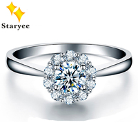 Classic 1 Carat Effect Real 18K Solid White Gold Simulated Diamonds Wedding Rings For Women Brand