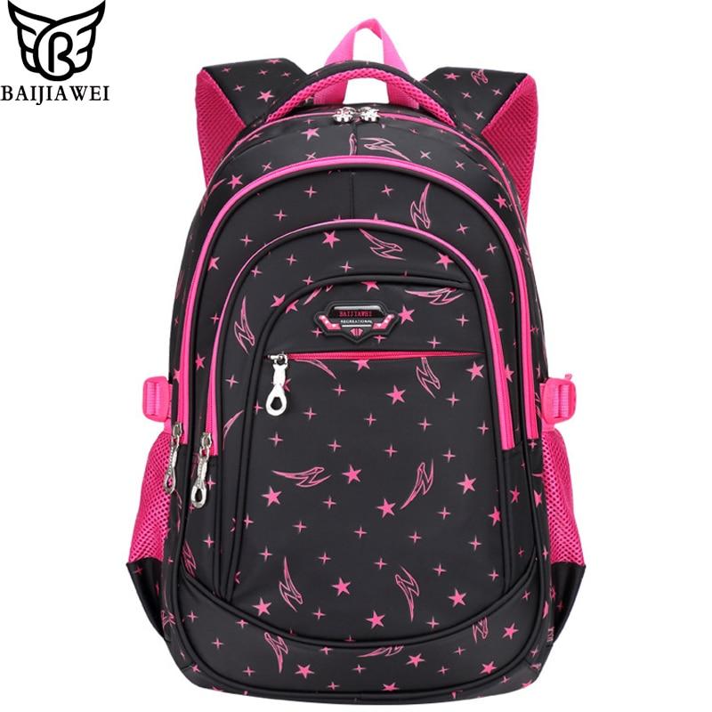 BAIJIAWEI 2017 New Children's Backpack Primary School Bags For Boys Girls Big Capacity Backpack Waterproof Students School Bag baijiawei children school bags children waterproof backpack in primary school backpacks for girls boys mochila infantil zip