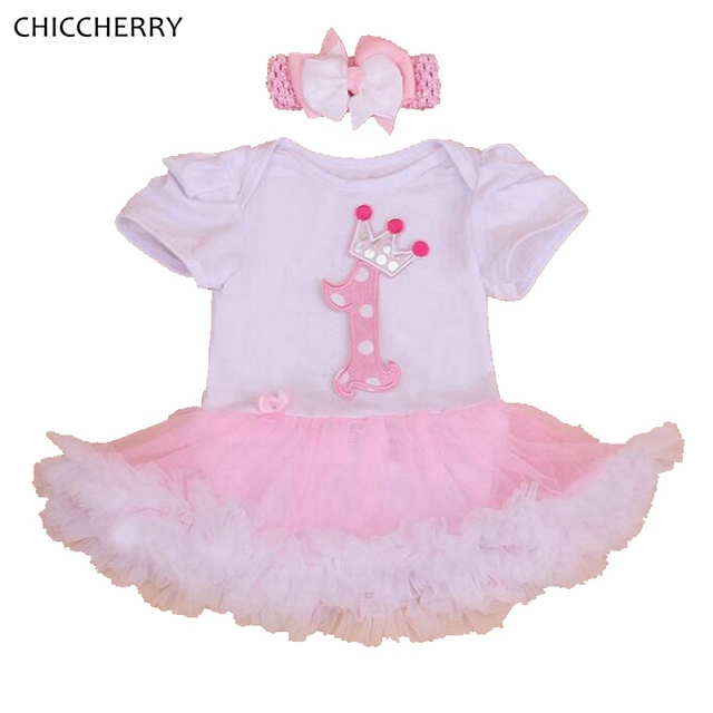 1 Year Birthday Party Dress with Headband Vestido Infantil Robe Bebe Fille Lace Tutu Girls Dresses Baby Girl 1st Birthday Outfit