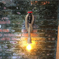 소켓 1 pc 레트로 워터 파이프 대마 로프 벽 램프 실내 장식 조명 e27 소켓 전구 (전구 제외) @ 1