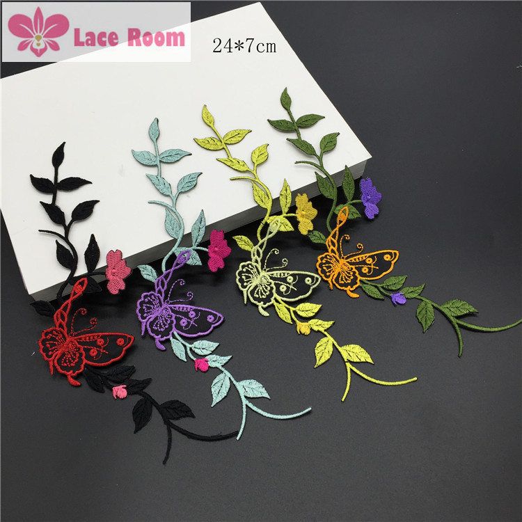 36520332f6 24 7cm Butterfly flower embroidered patch applique heongsam dress skirt  decorated DIY lace patch fabirc 5pcs lot