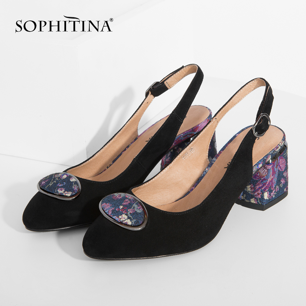 SOPHITINA 2019 Big Size Woman's Sandals Sheepskin Party Buckle Strap Fashion Floral Metal Decoration Shoes Back Strap Pumps SC19-in High Heels from Shoes    3