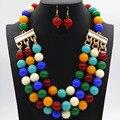 Nuevas Llegadas Africano Granos de Acrílico Sistemas de la Joyería de 6 Colores Del Pendiente Del Collar Del Banquete de Boda Mujeres Sistemas de la Joyería de Accesorios