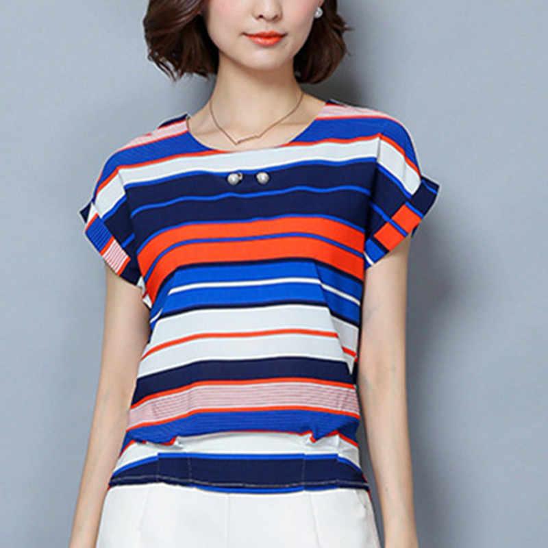 Femmes Blouses coton hauts et chemisiers décontracté à manches courtes dames chemises bleu/rouge Blusas grande taille XXXL/5XL Blusa Feminina
