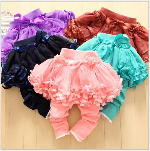2014 Novas leggings bebê calças menina crianças tutu saia legging tutu flor saia doce cor legging calças calças justas do bebê BEBE