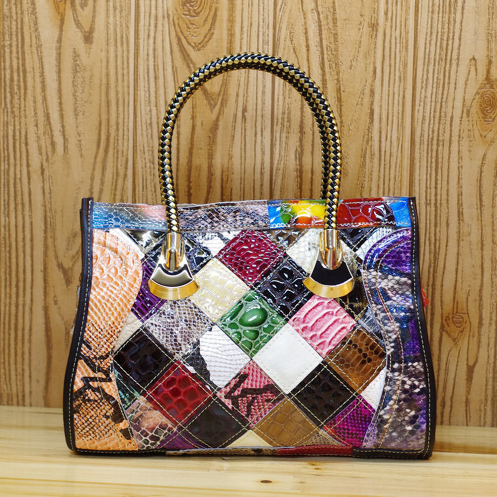 Caerlif Top-handle bags Women Leather Handbags High quality Genuine Leather Shoulder Bag Bolsas ladies tote bag colorful bags caerlif brand genuine leather bag colorful stripe weave vintage national wind shoulder bags female bag women messenger bags