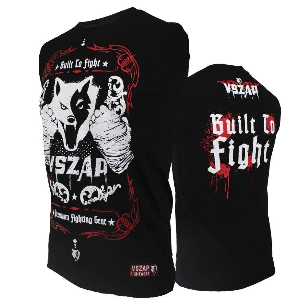 VSZAP Boxing MMA T Shirt Gym Tee Shirt Fighting Fighting Martial Arts Fitness Training Muay Thai T Shirt Men Homme Bjj Boxeo