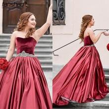 Ball-Gowns Prom-Dresses Sweetheart Burgundy Plus-Size Velvet Red Satin Crystal Sash Simple