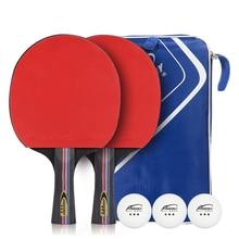 цена на 1 Set Professional Table Tennis Racket Double-sided Reverse Rubber Ping Pong Racket Straight Horizontal Grip Full Set Racquet