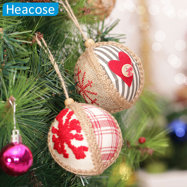 random delivery 10cm cotton and linen christmas ball christmas tree decoration navidad decorations gift natal christmas