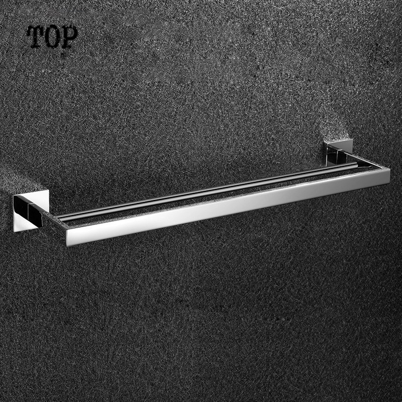 ФОТО 2014 Hot Sale Rushed ,solid Made, Chrome Finished,bathroom Products,bathroom Accessories Double Towel Bar (60cm),towel Holder