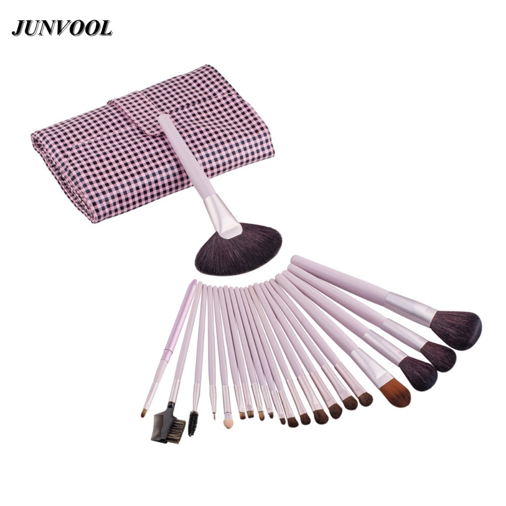21PCS Pink Cosmetic Facial Make Up Brush Kit Professional Wool Makeup Brushes Tools Set Brush With Leather Case High Quality 22pcs pink makeup brushes set professional maquiagem tool cosmetic make up fan brush tools set with leather makeup bag case