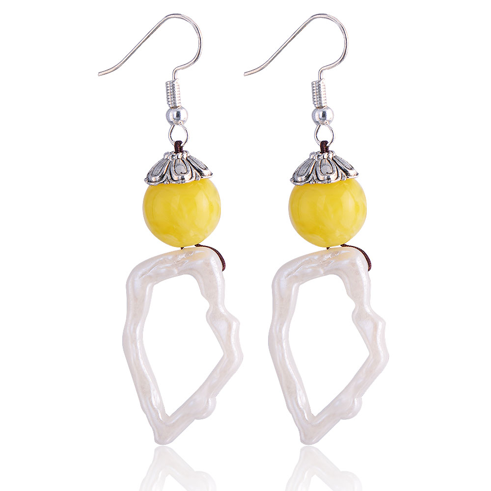 QIYIGE Acetate Drop Earring Yellow&White Element Trendy Irregular Shape For Woman Jewelry Accessorise Gifts
