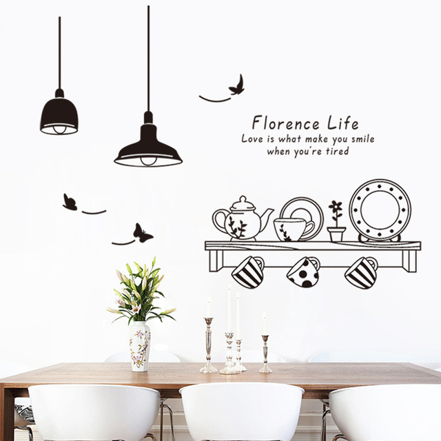 Dining Room Florence Life Removable Modern Wall Stickers Kitchen Tea Cup Cupboard Decals Murals Decor