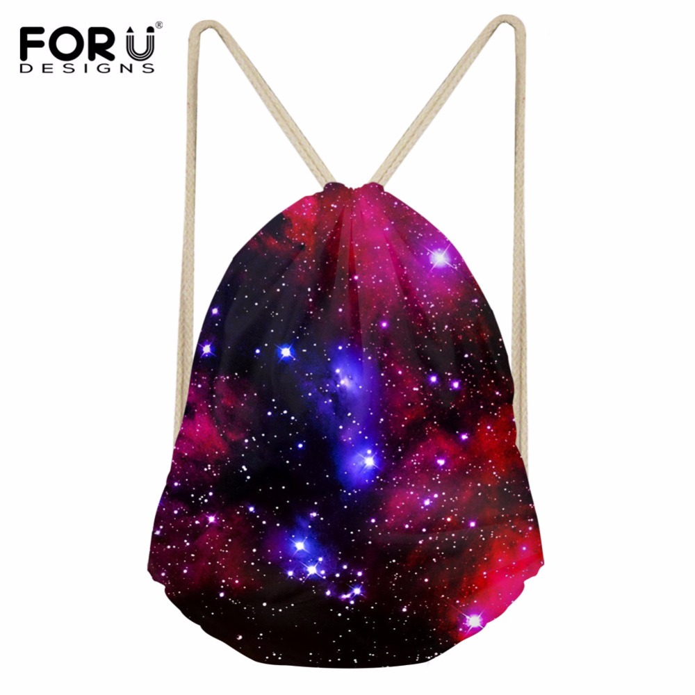 FORUDESIGNS Drawstring Bag Women's Galaxy Printed Backpack Females Small Shopping String Pouch Kids Girls Logo Custom Bolsos