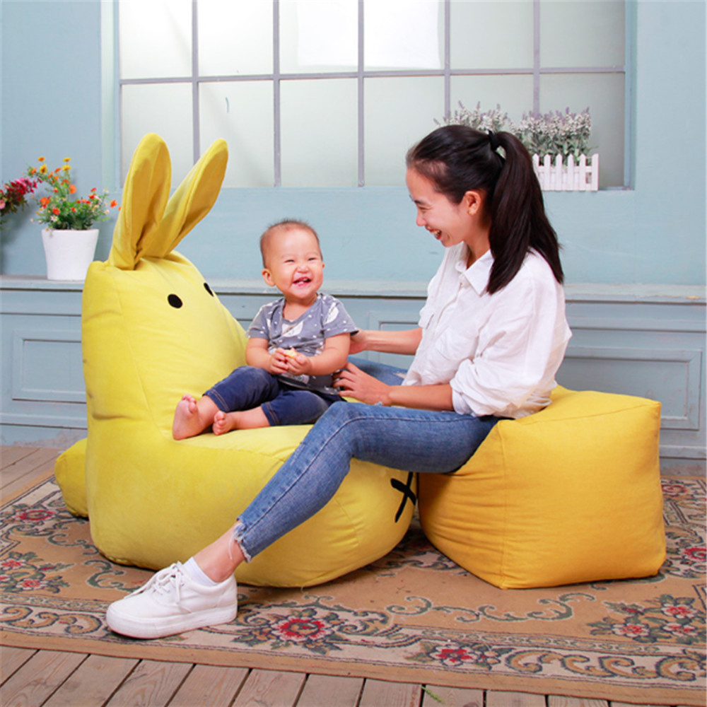 Fancytrader Lazy Rabbit BeanBag Toys for Children Particle Filling Cute Stuffed Bunny Kids Sofa Chair Doll 6 Colors 2 Sizes