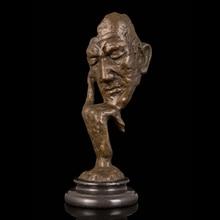 ATLIE Bronze Modern Abstract Male Head Statue Antique Bronze Thinking Man Bust Sculpture Thinker Brass Figurine for Decoration