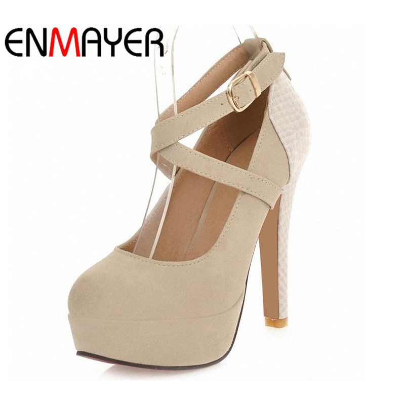 ENMAYER Fashion Platform Pumps Sexy High-heeled Shoes Heels Round Toe Platform Shoes Women's Wedding Prom Shoes Big Size 34-42 big size 40 41 42 women pumps 11 cm thin heels fashion beautiful pointy toe spell color sexy shoes discount sale free shipping