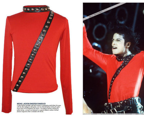 RARE MJ Michael Jackson BAD Tour Concert Punk Rivet RED Jacket Club Performance Collection