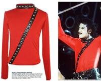 NADIR MJ Michael Jackson KÖTÜ Tur Konser Punk Perçin KıRMıZı Ceket Kulübü Performans Koleksiyonu
