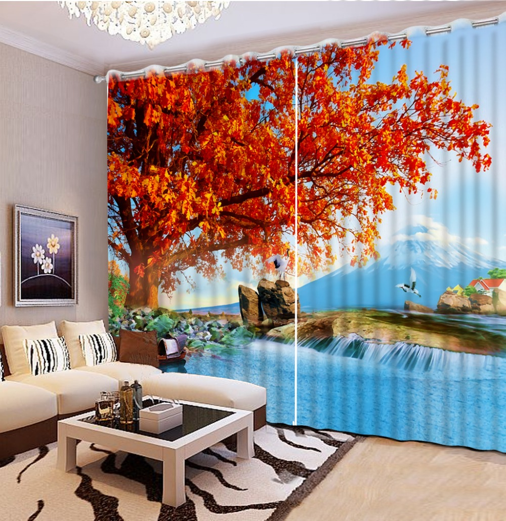 Unique Home Goods: Custom Curtains Living Room Modern Maple Autumn Landscape