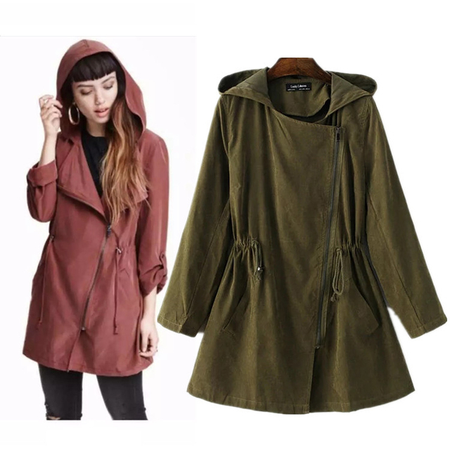 New 2016 Autumn Casual Solid Hooded Draw Cord Women's Trench feminine Inclined Zipper Long Sleeve Cardigan Outerwears Tops