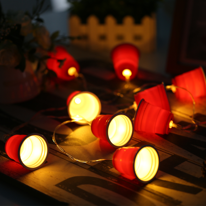 20led fairy red cup lanterns battery operated string lights 3m led decoration for christmas garland new year gerlyanda
