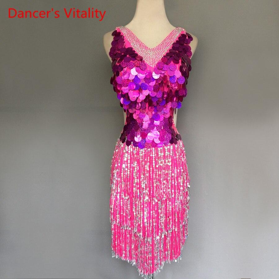 Kids/Adult Latin Dance Dress Competition Clothes Luxury Diamond Sequins Tassel Latin Dresses Women Girls Performance Costumes