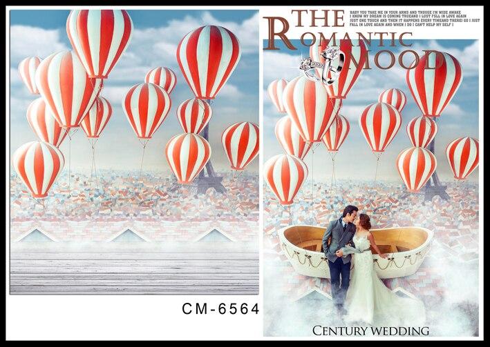 Fond de plancher en bois ballons chauds nuage blanc avec fond de ciel bleu photographie fond de photo de mariage pour studio