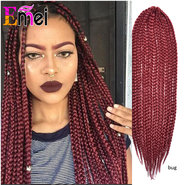 22 Bug Crochet Box Braid Medium Synthetic Braids Hair Extensions For Black Red