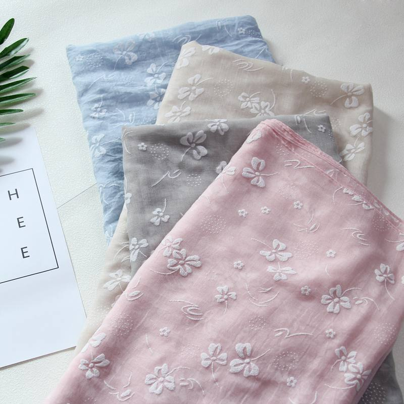 Spring Autumn Cotton Linen Scarf Female Summer Thin Blue Art Style Shawl Women Long Floral Embroided Scarves Wraps Neck Scarf