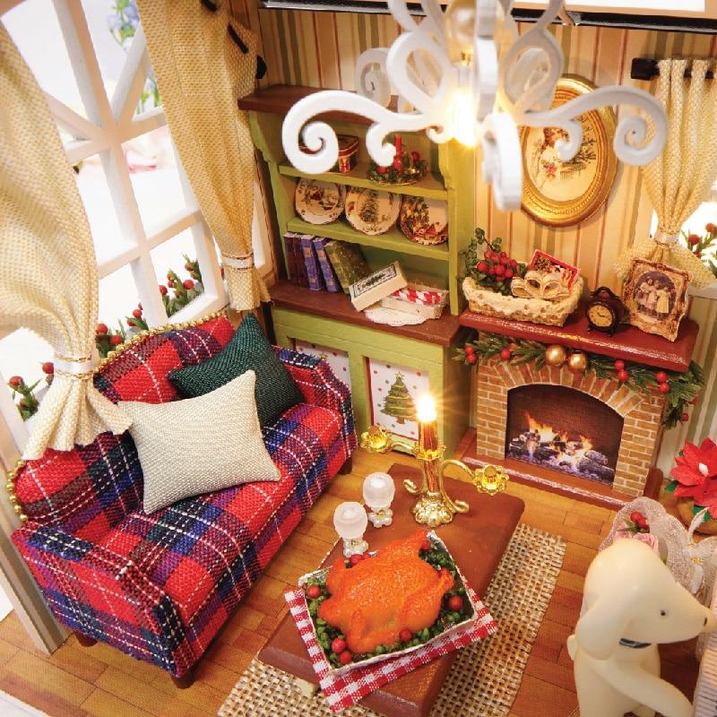 Doll House Möbler Diy Miniatyr Dammskydd 3D Wooden Miniaturas - Dockor och gosedjur - Foto 5