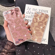 Tfshining Luxury Glitter Bling Phone Case For On iphone X XR XS Max 7 8 Plus 6 6s Cover Lips Kiss Shockproof Girl Gift